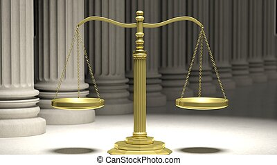 Golden scale of justice with ancient pillars in background.