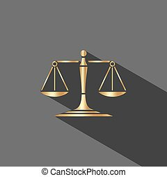 Golden scales of justice icon with shadow on dark background