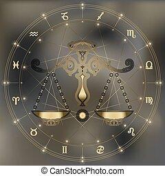 Golden scales, zodiac Libra sign