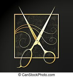 Golden scissors and curl hair symbol of a beauty salon