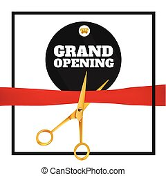 Golden scissors cut the red ribbon. Grand Opening Event.