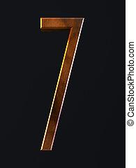 Golden scratch alphabet letter symbol 7 seven