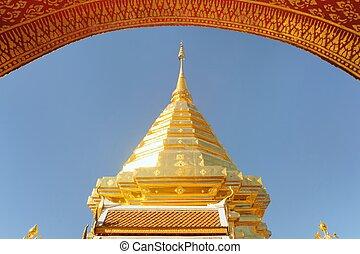 Golden sculpture Wat Phra That Doi Suthep in sunny day.