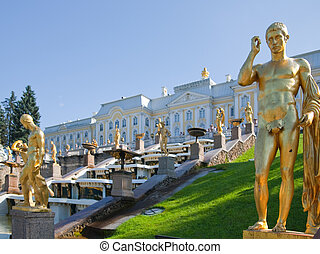 Golden  sculptures in  Peterhof