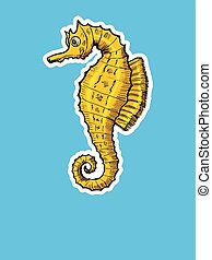Golden seahorse in zine style. Hand drawn, sketch illustration. Motives of funny, animal, underwater life, Jurassic. Side view. Colored Illustration