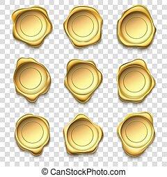 Golden seal. Elite gold wax seals, premium stamps and reliability envelope post stamp vector illustration set
