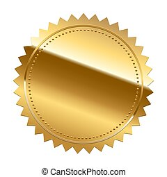 Golden seal isolated on white background. Vector design element.