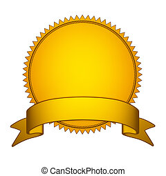 Golden Seal Stamper with Gold Ribbon. Isolated on white ...