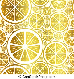 Golden seamless background with orange and lemon slices