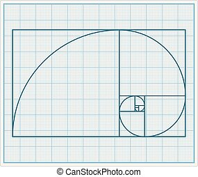 Golden Section - Graph paper with golden section, vector...
