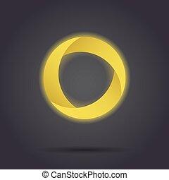 Golden segmented circle icon