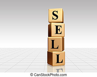 golden sell with reflection - 3d golden boxes with black...