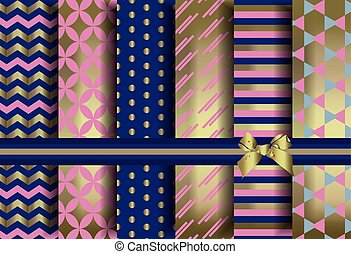 Golden set of abstract pattern