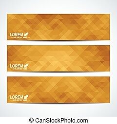Golden set of vector banners. Background with gold triangles. Web banners, card, vip, certificate, gift, voucher. Modern business stylish design