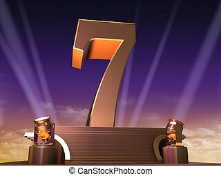 golden seven - 3d rendered illustration of a golden number...