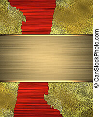 Golden shabby background on red cutout.. Design template