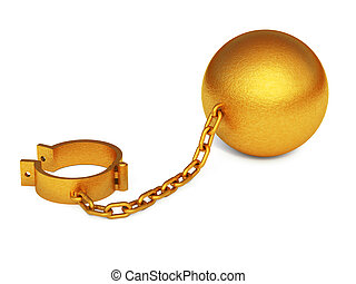 Golden shackles isolated on the white background