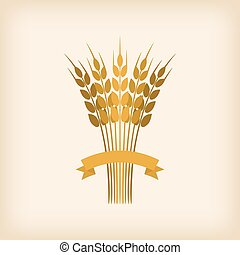 Golden sheaf of wheat with ribbon