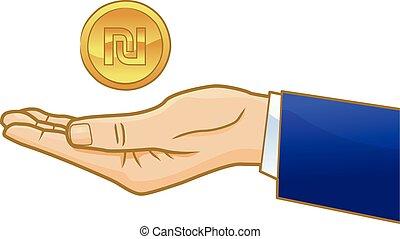 Golden shekel on businessman hand