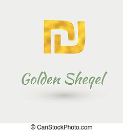 Golden Sheqel Symbol - Symbol of the Sheqel Currency with ...