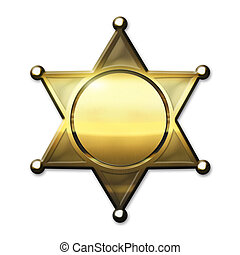 Golden Sheriff Badge - Golden Sheriff Star - isolated on...