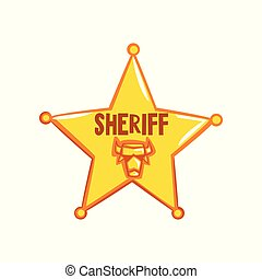 Golden sheriff star badge, American justice emblem vector Illustration on a white background