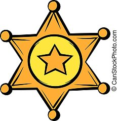 Golden sheriff star badge icon, icon cartoon