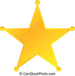 Golden Sheriff Star Badge Vector Vector Illustration