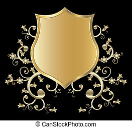 golden shield design  - vector golden shield design