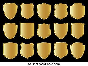 shield design set - golden shield design set with various...