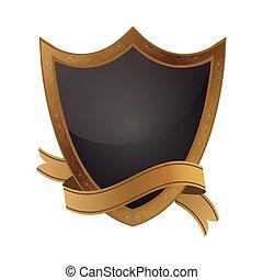 golden shield emblem with ribbon frame