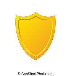 Golden shield icon in cartoon style, stock vector illustration