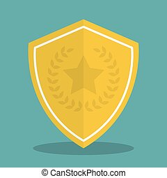 Golden shield icon with shadow in a flat design