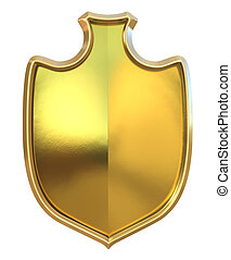 Golden shield - isolated on white background