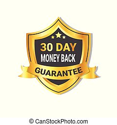 Golden Shield Money Back In 30 Days Guarantee Label with Ribbon Isolated