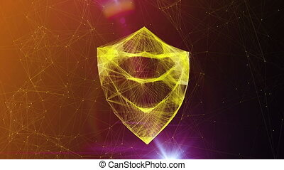 Golden Shield Symbol in Whirling Cyberspace - A luxury 3d...