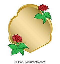 golden shield with carnation - vector