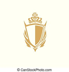 golden shield with crown vector illustration