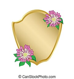 golden shield with flowers - vector