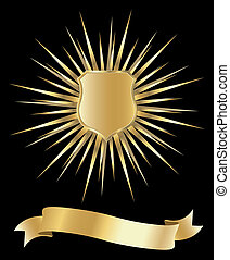 golden shield with rays - ribbon and golden shield with rays