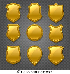 Golden Shields Emblem Set