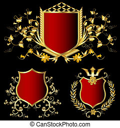 golden shields - golden shield design set with various...