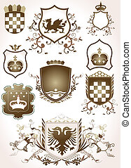 golden shields - golden shield design set with various ...