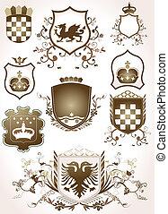 golden shields - golden shield design set with various...