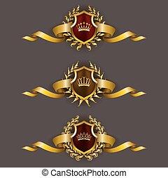 Golden shields with laurel wreath - Set of luxury golden...
