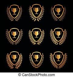 Golden shields with laurel wreaths, cups