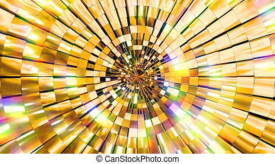 4K golden shine abstract stage background. Seamless loop motion graphics for night club, visual projection, screen, music video, entertainment, VJ, background, animation visual art, party, audio visualization, fashion show etc.