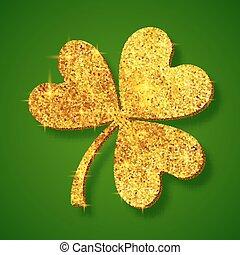 Golden shining glitter glamour clover leaf on dark green background