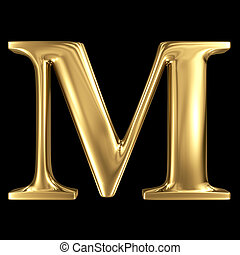 Golden shining metallic 3D symbol capital letter M -...