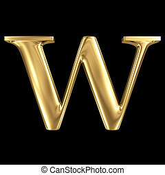 Golden shining metallic 3D symbol capital letter W -...